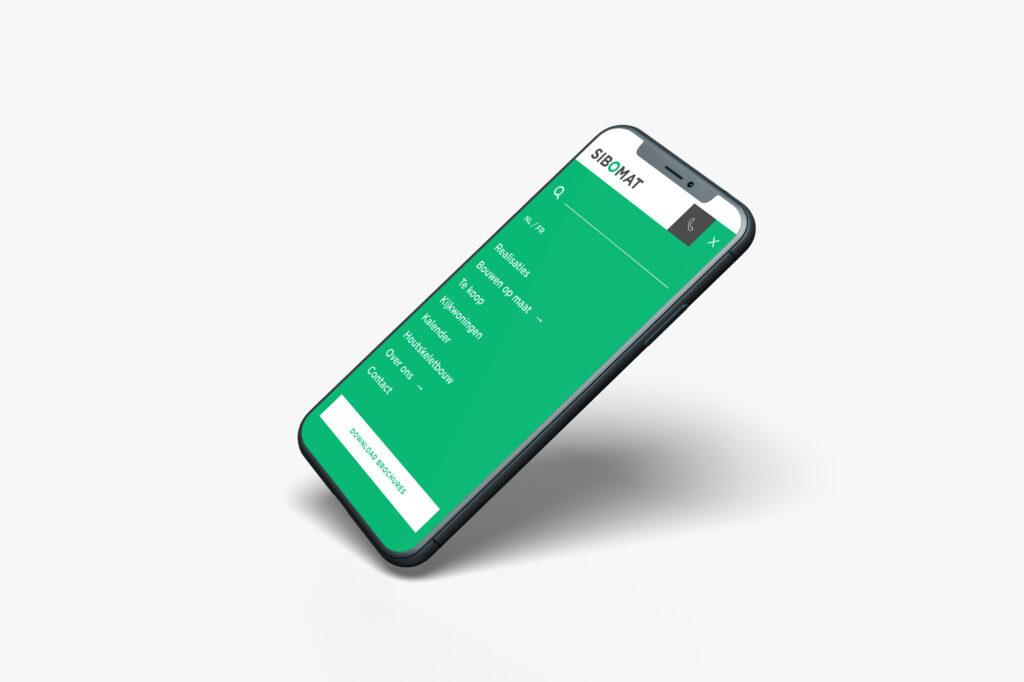 Mobiel menu ontwerp voor Sibomat door Easybranding