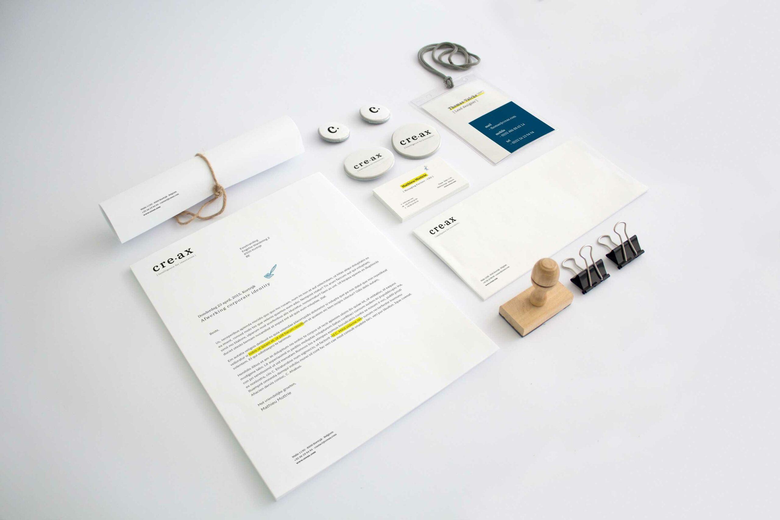 Voorbeeld huisstijl rebrandingstraject creax door grafisch bureau Easybranding uit Kortrijk