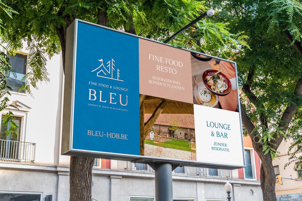 Voorbeeld van signalisatie voor zomerconcept Bleu Fine Food