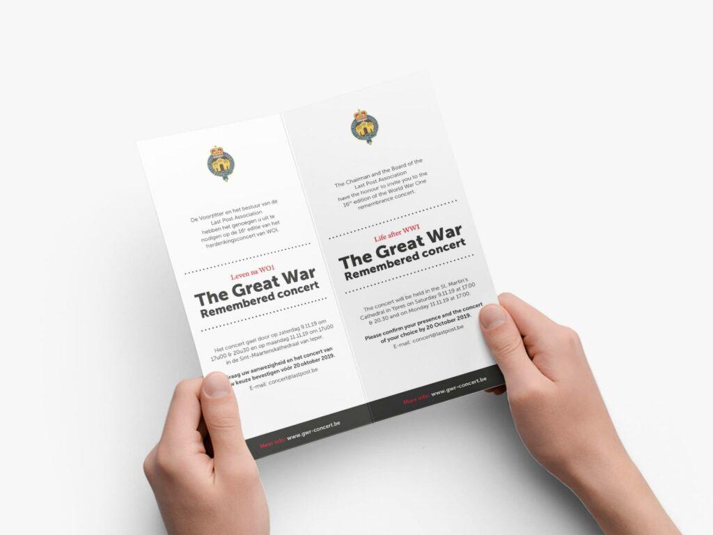 Grafische uitwerking van de uitnodigingen voor event branding door creatief bureau uit Kortrijk, West-Vlaanderen.