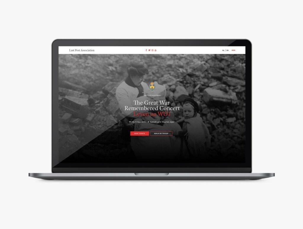 Ontwerp van een one-page website voor een event.