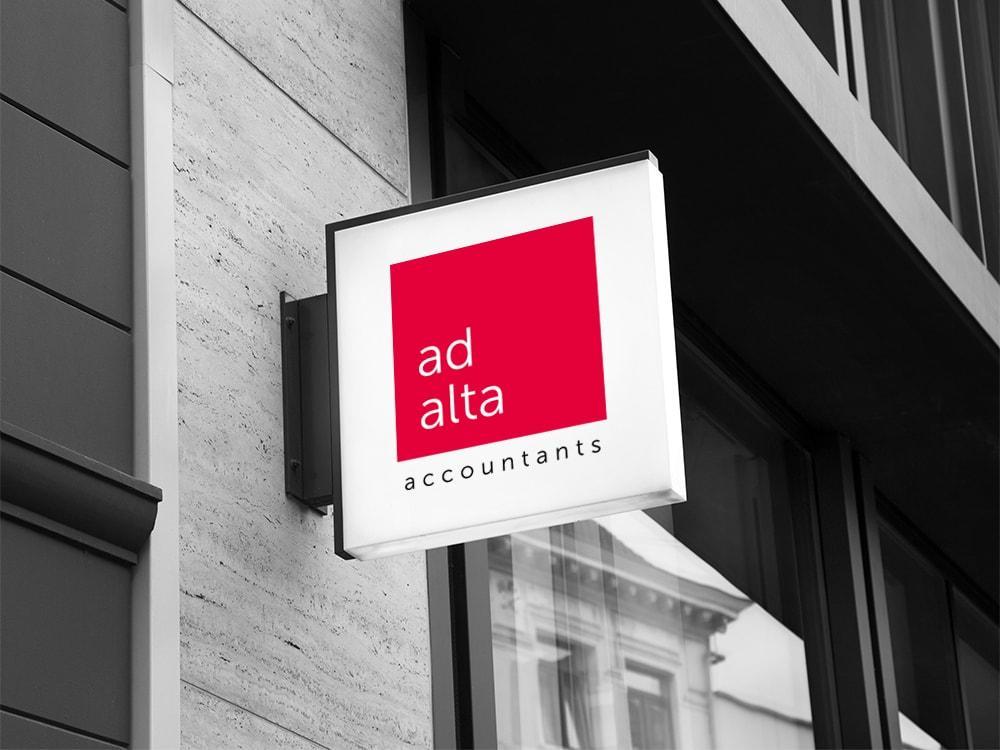 Ontwerp signalisatie gevel Ad Alta Consultants