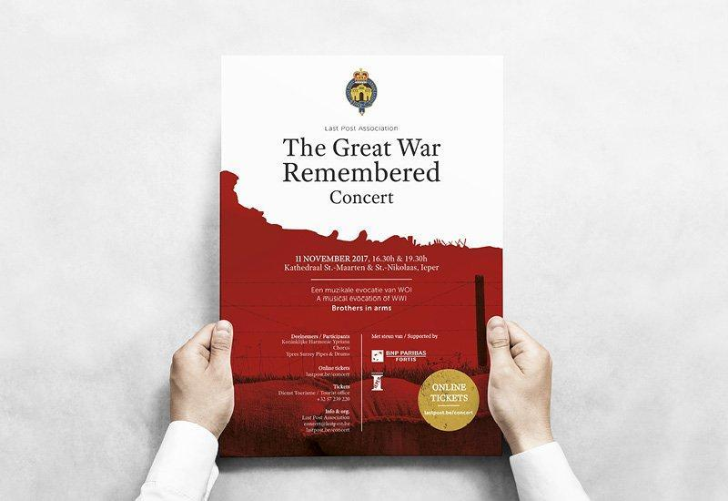 Brochure ontworpen door grafisch bureau Easybranding voor concert The Great War Remembered