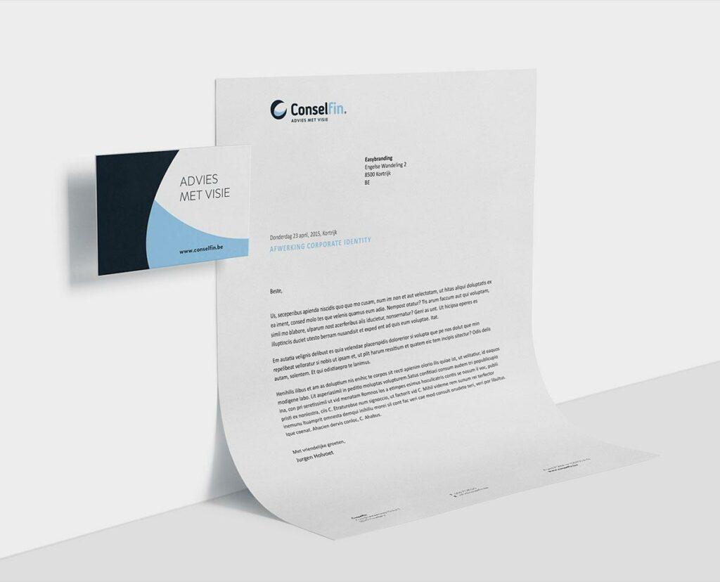 Grafisch ontwerp van visitekaartje en briefpapier door grafisch bureau Easybranding