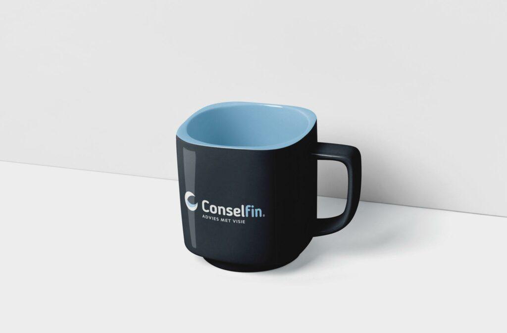 Koffietas met logo Conselfin